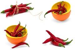 Комплект перца chili на белой предпосылке Стоковое Фото