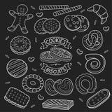 Комплект печений и печенья doodle в доске иллюстрация штока