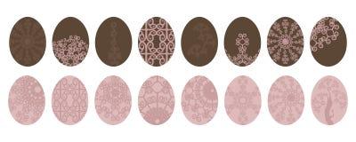 Комплект пинка пасхи пастельного и цвета коричневого цвета eggs при картина изолированная на белой предпосылке иллюстрация штока