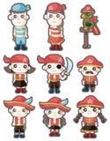 комплект пирата иконы шаржа Стоковые Изображения RF
