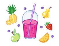 Комплект питья и плодоовощей Стоковое Изображение