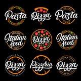 Комплект пиццы, макаронные изделия, пиццерия и итальянская еда вручают написанный бесплатная иллюстрация