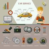 Комплект плаката обслуживания плоского автомобиля вектора infographic Стоковые Фотографии RF