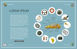 Комплект плаката обслуживания плоского автомобиля вектора infographic Стоковые Изображения