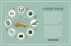 Комплект плаката обслуживания плоского автомобиля вектора infographic Стоковое Изображение RF