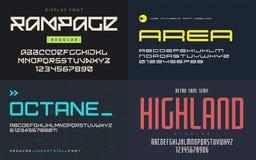 Комплект плакатных шрифтов, пальмир, vector uppercase письма и nu Стоковая Фотография RF