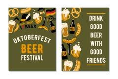 Комплект 2 плакатов для фестиваля пива ремесла oktoberfest Стоковые Фотографии RF