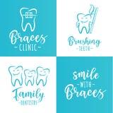 Комплект плакатов зубоврачевания для зубоврачебной клиники Стоковая Фотография