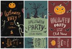 Комплект плакатов и рогульки на хеллоуин party Тыквы, скелеты, кладбище и другие символы хеллоуина вектор Стоковая Фотография RF