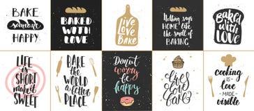 Комплект плакатов литерности хлебопекарни вектора, поздравительных открыток иллюстрация штока