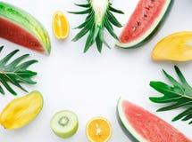 Комплект плодоовощ на белой предпосылке Взгляд сверху Лето, здоровая идея Стоковые Фотографии RF