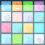 Комплект плоских значков для передвижных app и сеты стоковое изображение rf