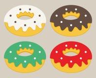 Комплект плоского значка donuts Стоковое Изображение RF