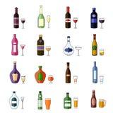 Комплект плоского спирта выпивает значки Стоковая Фотография