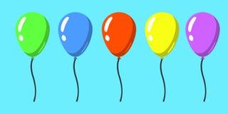 комплект плоского стиля изолировал воздушные шары для торжества и украшение на голубой предпосылке иллюстрация Стоковая Фотография