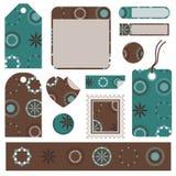 комплект подарка голубого коричневого цвета Стоковое Изображение RF