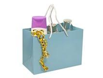 комплект подарка мешка голубой Стоковое Фото
