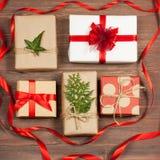 Комплект подарков в коробках Стоковые Изображения RF
