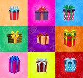 Комплект подарков при ленты обернутые в покрашенной бумаге изолированной на m Стоковая Фотография