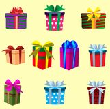 Комплект подарков при ленты обернутые в покрашенной изолированной бумаге Vec Стоковое Изображение