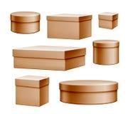Комплект подарочной коробки пакета картона вектора реалистический бесплатная иллюстрация