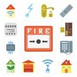 Комплект пожарной сигнализации, дома, радиотелеграфа, гаража, дома Eco, шкала, холодная, бесплатная иллюстрация