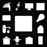 Комплект пожарной сигнализации, умного дома, гаража, управления голоса, дома, руки бесплатная иллюстрация
