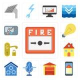 Комплект пожарной сигнализации, умного дома, гаража, управления голоса, дома, руки иллюстрация штока