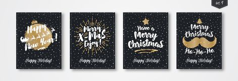 Комплект поздравительной открытки рождества с знаком стиля золота эмблемы состоя с Рождеством Христовым Стоковые Изображения RF