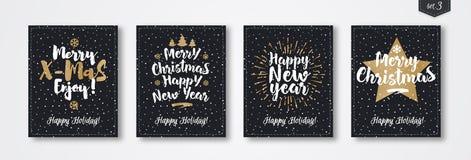 Комплект поздравительной открытки рождества с знаком стиля золота эмблемы состоя с Рождеством Христовым с звездой Стоковая Фотография