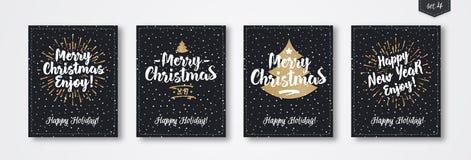 Комплект поздравительной открытки рождества с знаком стиля золота эмблемы с Рождеством Христовым с sunburst Стоковое фото RF