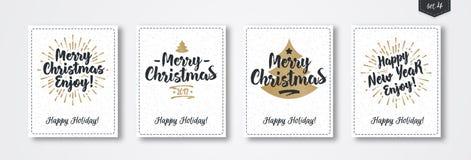 Комплект поздравительной открытки рождества с стилем золота эмблемы с предпосылкой праздника снега sunburst Стоковые Изображения RF