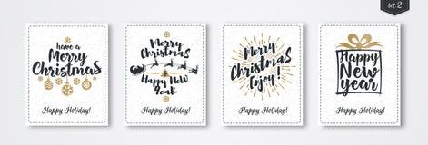 Комплект поздравительной открытки рождества с стилем золота эмблемы с подарком, santa и оленями, шариком рождества Стоковые Изображения RF
