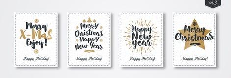 Комплект поздравительной открытки рождества с стилем золота эмблемы с звездой, sunburst, рождественской елкой Стоковые Фотографии RF