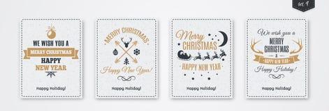 Комплект поздравительной открытки рождества с стилем золота эмблемы с santa и оленями, рождественской елкой, рожком Стоковая Фотография RF