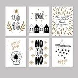 Комплект поздравительной открытки рождества doodle Значки вектора нарисованные рукой милые Скандинавский тип Дерево Xmas, дома, г Стоковые Изображения