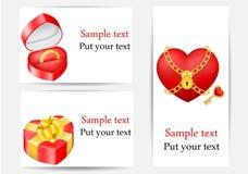 Комплект поздравительных открыток, шаблонов влюбленности Стоковые Изображения