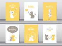Комплект поздравительых открыток ко дню рождения, плакат, карточки приглашения Стоковое Фото
