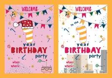 Комплект поздравительых открыток ко дню рождения с днем рождений конструирует для одного годовалого младенца иллюстрация вектора