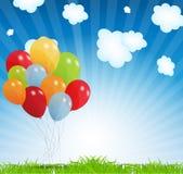 Комплект покрашенных воздушных шаров, иллюстрация вектора. EPS Стоковое Фото