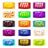 Комплект покрашенных помадок в ярком праздничном пакете различных ярких цветов Помадки, изолированный вектор, стиль шаржа иллюстрация вектора