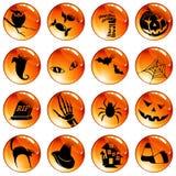 комплект померанца halloween 16 кнопок Стоковое фото RF