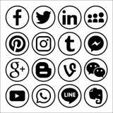 Комплект популярных социальных логотипов средств массовой информации vector чернота значка сети стоковая фотография