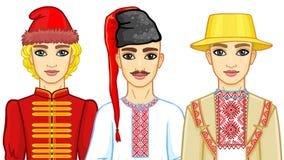 Комплект портретов анимации славянских людей в традиционных одеждах Беларусь, Украина, Россия бесплатная иллюстрация