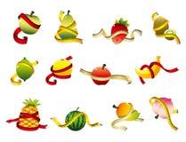 комплект правителя иконы здоровья свежих фруктов Стоковое Изображение RF