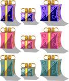 комплект праздника giftbox 01 цвета Стоковое Изображение