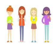 Комплект предназначенного для подростков положения характера девушки Иллюстрация штока