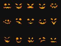 Комплект предпосылки значка smileys тыквы хеллоуина Стоковые Фотографии RF