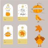 Комплект предпосылок благодарения праздника, значков, бирок с различными элементами иллюстрация штока