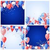Комплект предпосылок и рамок вектора праздника США 4 из США -го поздравительной открытки Дня независимости в июле или шаблона зна иллюстрация штока